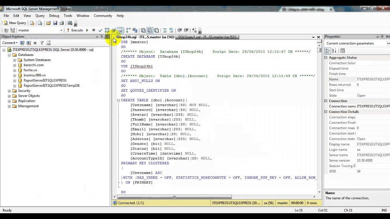 Restore Database với định dạng file .SQL vào SQL Server Management (ITExpress.vn)