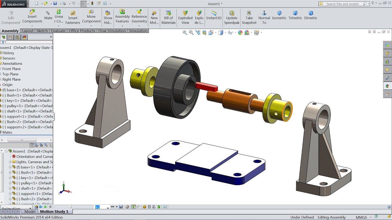 SolidWorks tutorial | Design and Assembly of Pulley in SolidWorks