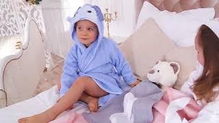 видео Детские халаты зайчики и мишки. Для мальчиков и девочек. С капюшоном, на молнии, в бассейн. Интернет магазин.