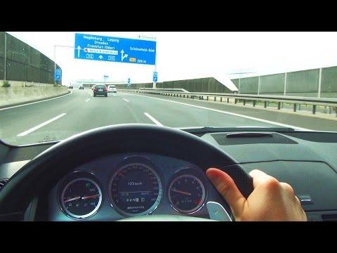 Mercedes C63 AMG Drive to Berlin Airport Schönefeld Flughafen BBI Autobahn Onboard Drive view