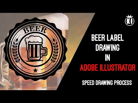 Beer label drawing process. Speed art. Retro Style Badge Logo in Adobe Illustrator