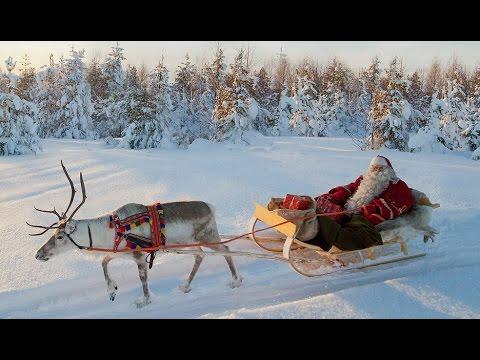 rentierschlittenfahrt des weihnachtsmannes lappland finnland rovaniemi video f r kinder santa