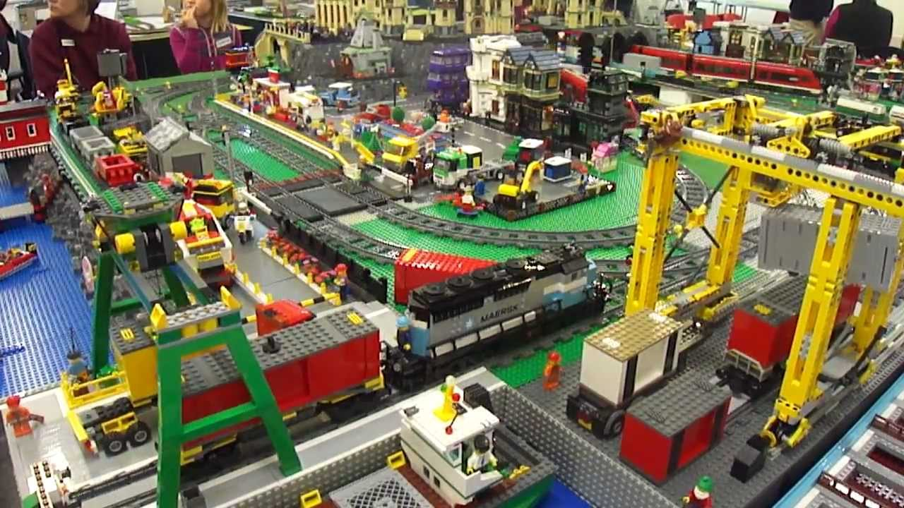 brickville town harbour lego city layout railway train display at mkmrs exbition feb 2012 youtube
