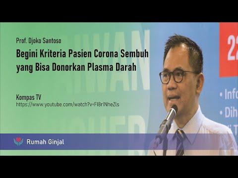 Begini Kriteria Pasien Corona Sembuh yang Bisa Donorkan Plasma Darah - Prof. Djoko Santoso di Kompas