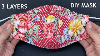 Very Easy Diy Breathable Face Mask New Style 3 Layers 2 IN 1 Easy Pattern Sewing Tutorial At Home