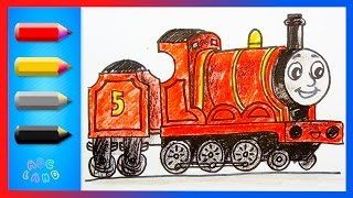 How to Draw James - the No.5  red Engine ♦ Thomas and Friends ♦  Animated Drawing Tutorial
