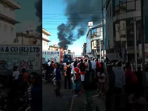 Alliance Democratic Party (ADP) Office in Freetown, Sierra Leone on fire!