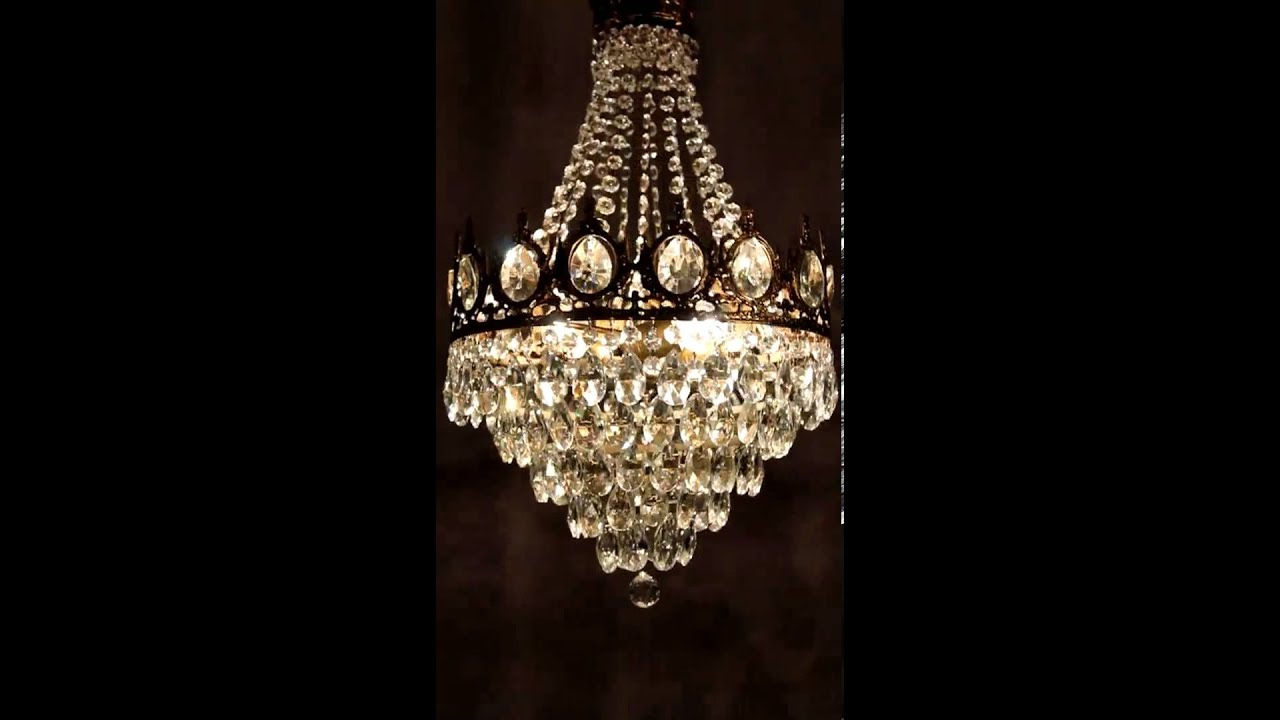 antik kristall kronleuchter l ster lampe alt messing antique crystal chandelier youtube. Black Bedroom Furniture Sets. Home Design Ideas