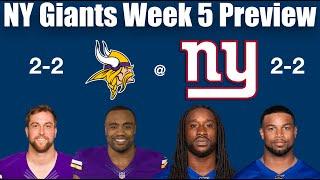 NY Giants Week 5 Preview vs Vikings