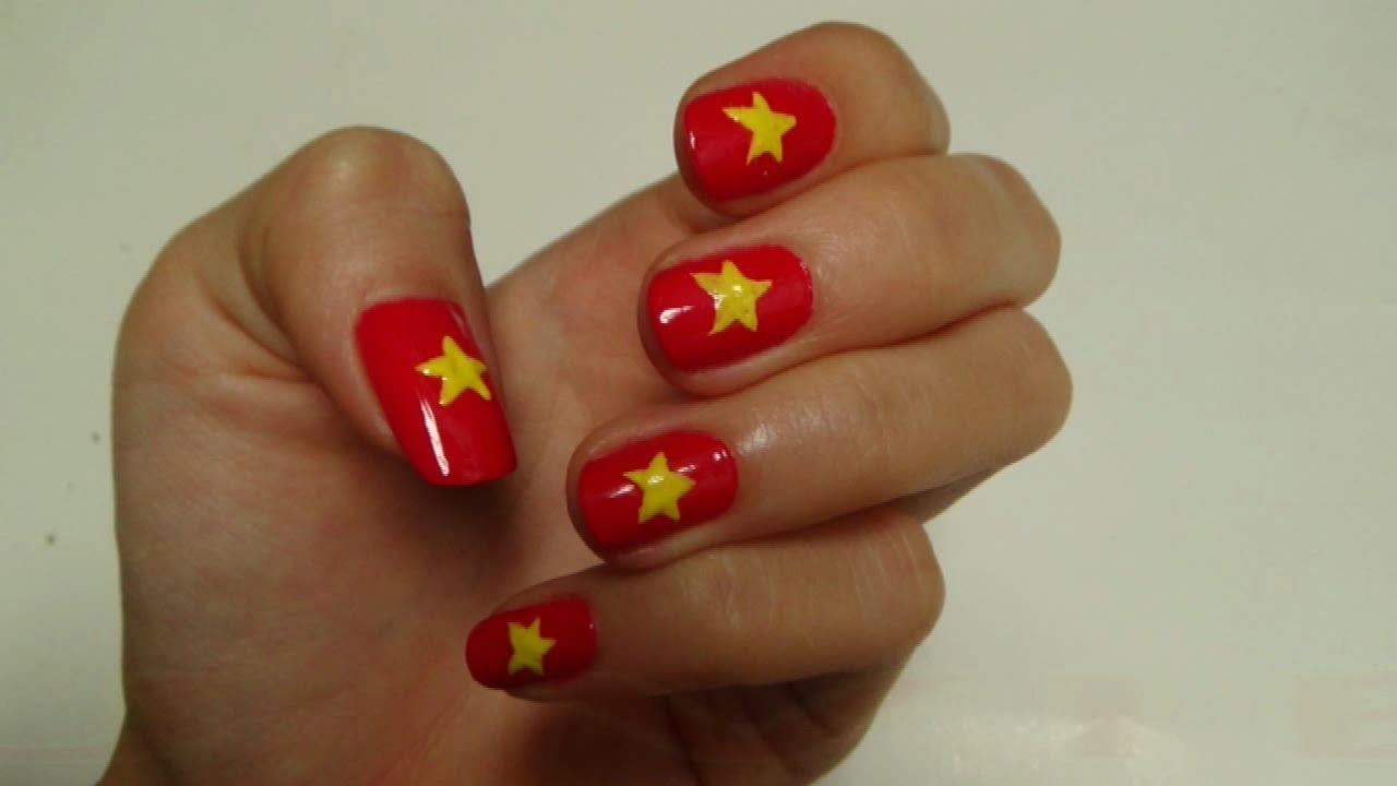 easy nails art - vietnam flag ( red flag + yellow star ) - youtube