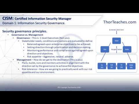 CISM Domain 1: Information Security Governance – Governance, Management, standards, and frameworks