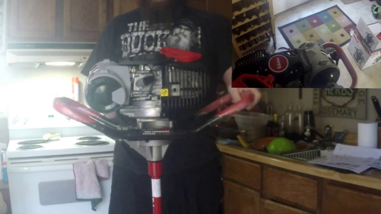 Eskimo H C 40 ice auger unboxing and first startup