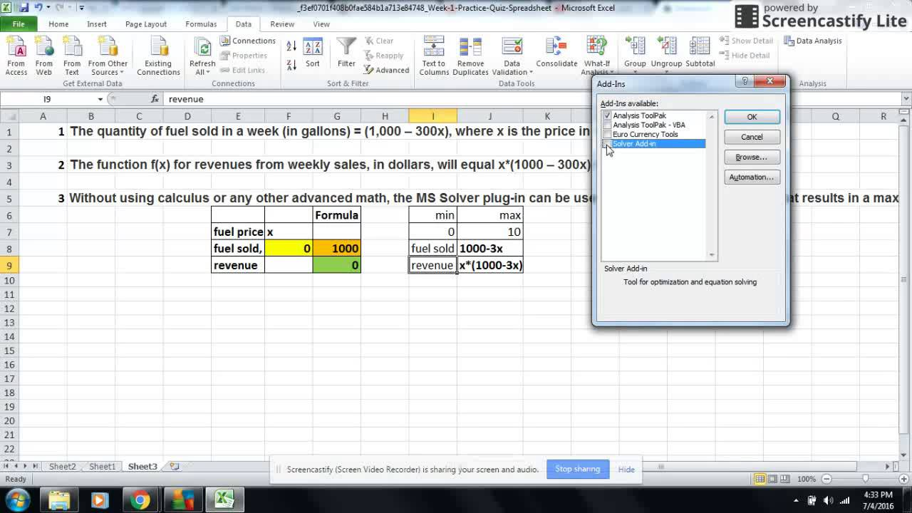 Solver tool Excel - How to use Solver in Excel Tutorial - YouTube