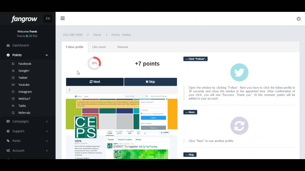FanGrow com App - Twitter Feature Overview // fangrow , shiftfact ,  addmefast , like4like //