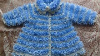 Вяжем крючком - пальто из травки для девочки. Часть 1