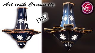 HANGING LIGHT | How to make Card Board Chandelier | pendant lighting | DIY | Art with creativity 245