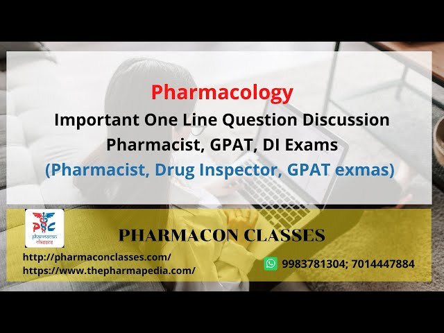 Pharmacology: Important One Line Question Discussion |Pharmacist, GPAT, DI Exams