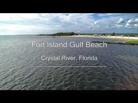 Aerial video and timelapse - Fort Island Gulf Beach - Crystal River, Florida