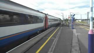 EMT Class 43 HST passes Hendon Railway Station, 30/7/2012