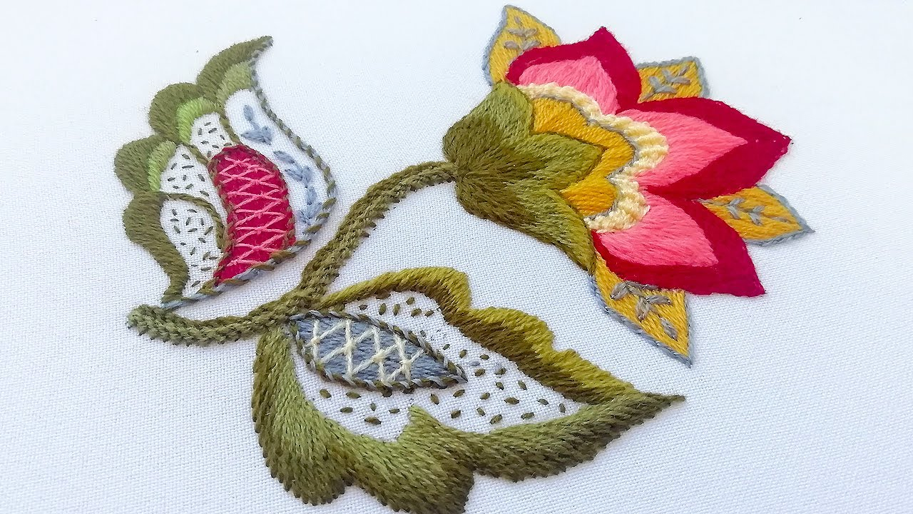 Embroidery: Crewel Work | How to Embroider a Jacobean Flower