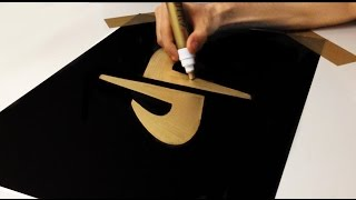 ( step by step ) How To Draw Gold DP Dude Perfect Logo ( No Speed Drawing )