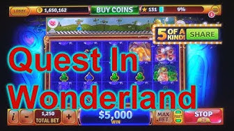 """HOUSE OF FUN Casino Slots Game How To Play """"QUEST IN WONDERLAND"""" On Your Cell Phone"""