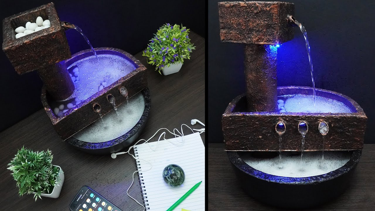 Home Made Beautiful Tabletop Water Fountain Using Styrofoam | Wonderful Waterfall Fountain