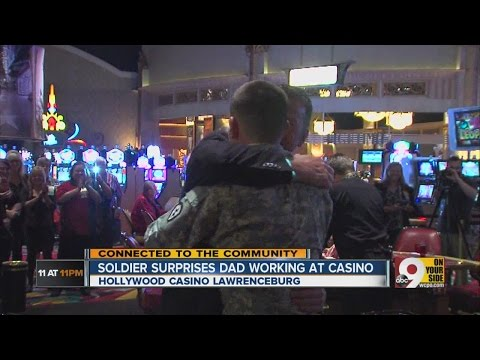Father and son embrace after surprise reunion at Hollywood Casino