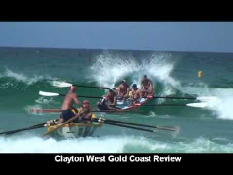Traditional long boat surf life saving - Gold Coast Australia