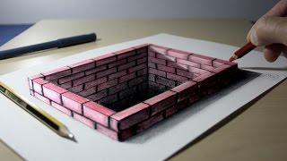 3D Trick Art on Paper Brick hole