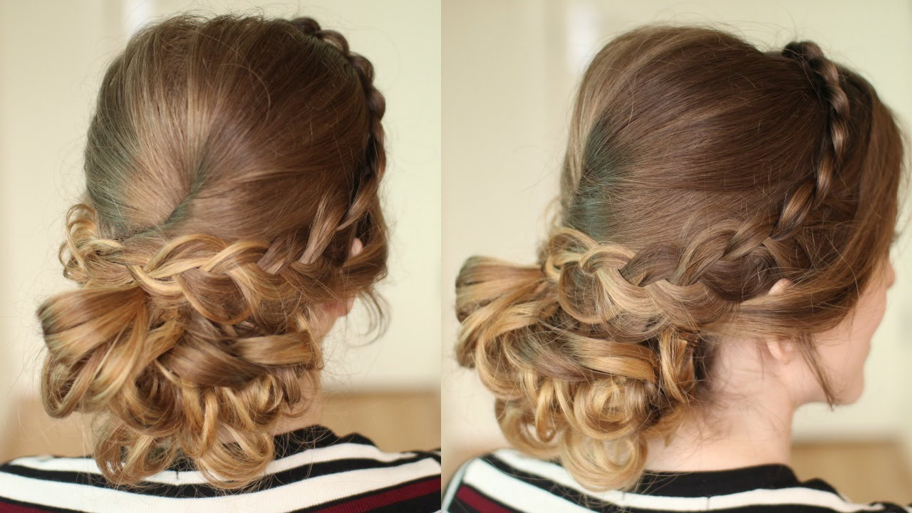 Curly Braided Bridal Prom Updo