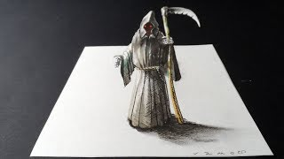 👻Drawing Trick - How to Draw 3D Death Reaper - Vamos