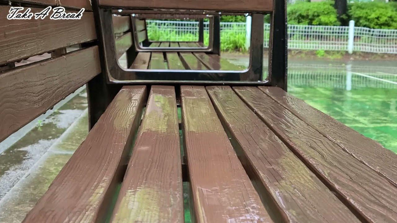 누군가의 빈자리 감성 자극 벤치 빗소리 백색소음   잠 잘오는 소리 ASMR   Rain sound on a bench