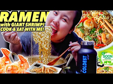 GIANT SHRIMP RAMEN RECIPE MUKBANG 먹방 EATING SHOW!