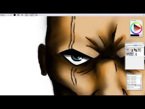 Drawing a male tribal warrior's head in Mypaint using a graphics tablet