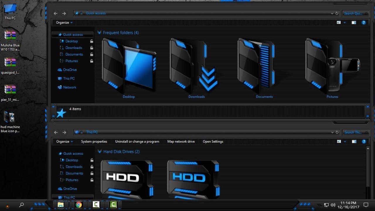 Windows 10 custom Icon pack HUD Machine blue