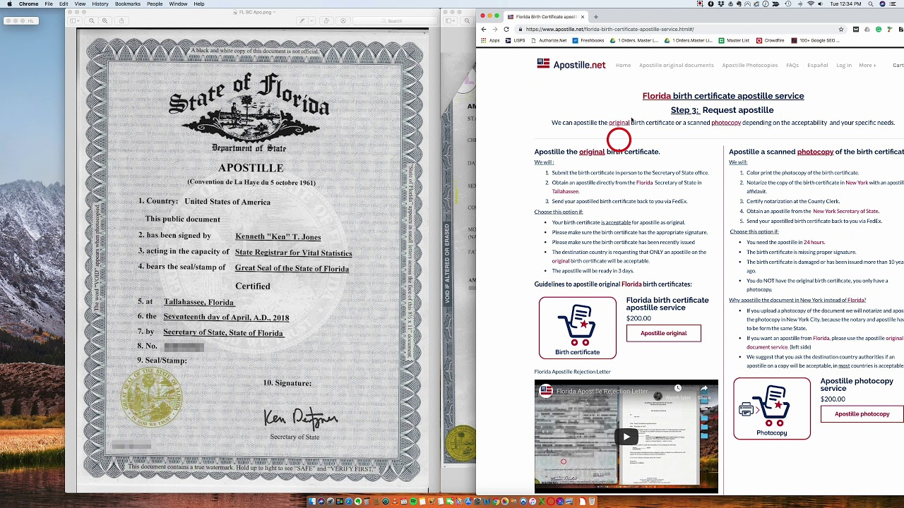 How To Apostille A Florida Birth Certificate Youtube