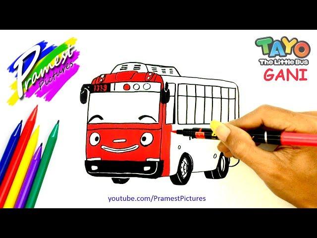 Gani Cara Menggambar Dan Mewarnai Gambar Mobil Tayo The Little Bus