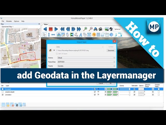 How to add Geodata in the Layermanager of the Horus Movie Player