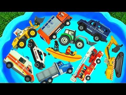 مجموعة ألعاب الحفارة، الجرّار، شاحنة الإطفاء، سيارة الشرطة، الشاحنات