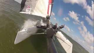 Pushing the Wildcat (catamaran sailing F18) (Hellecat)