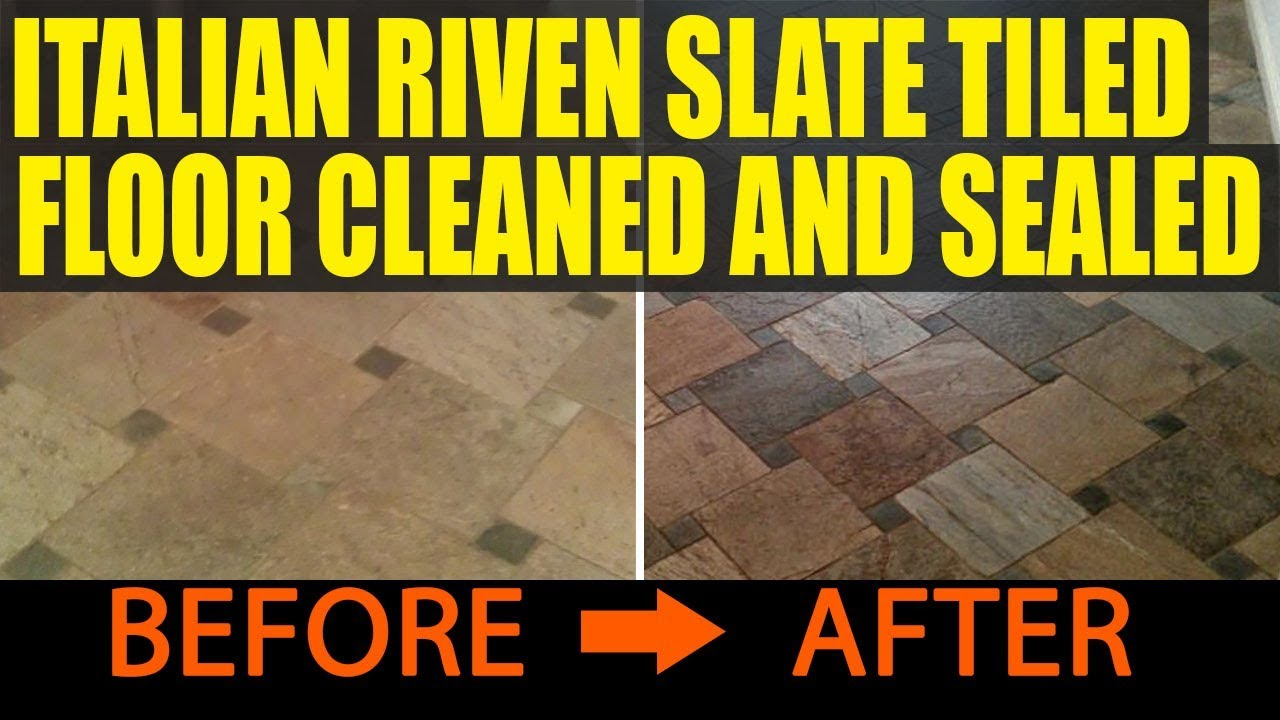 Italian riven slate tiled floor cleaned and sealed youtube dailygadgetfo Image collections