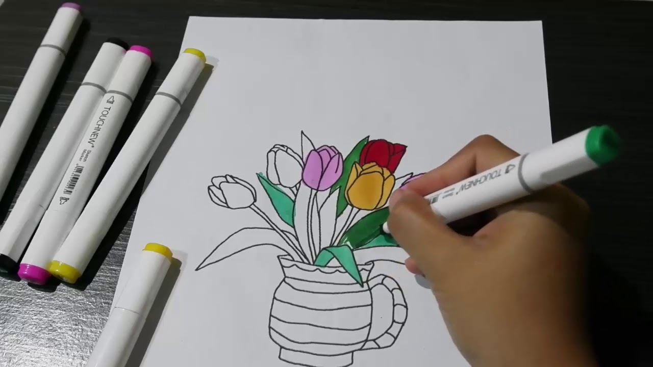 Mewarnai Bunga Vas Bunga Youtube