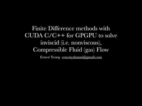 Finite Difference methods with CUDA C/C++ for GPGPU to solve inviscid Compressible Fluid Flow