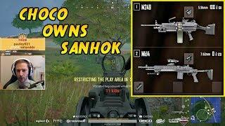 CHOCOTACO OWNS SANHOK M249 + MK14   PLAYERUNKNOWN'S BATTLEGROUNDS (9/21/18)