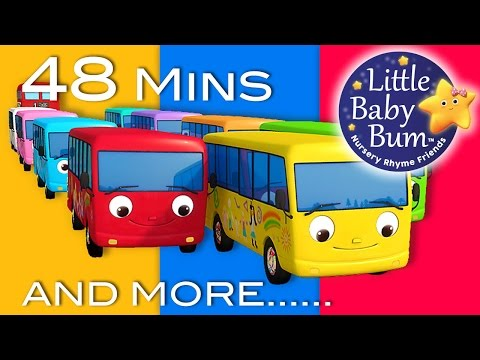 Thumbnail: Ten Little Buses | Part 2 | Plus Lots More Nursery Rhymes | 48 Mins Compilation from LittleBabyBum!