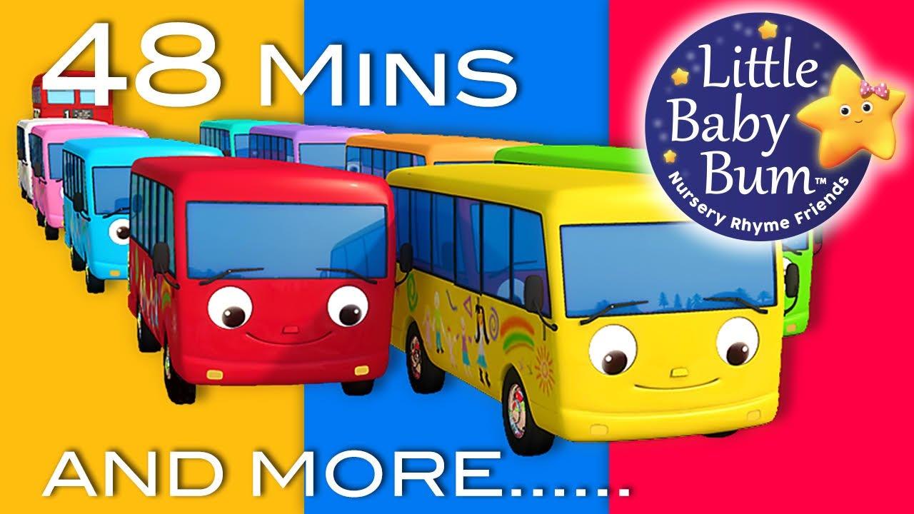 Ten Little Buses | Part 2 | Plus Lots More Nursery Rhymes | 48 Mins Compilation from LittleBabyBum!