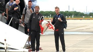 Champion League Champions Liverpool Arrive Back In UK With Trophy