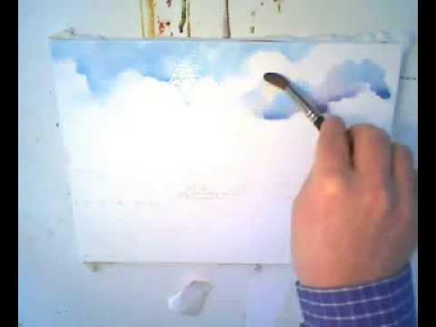 Как нарисовать небо с облаками, акварелью