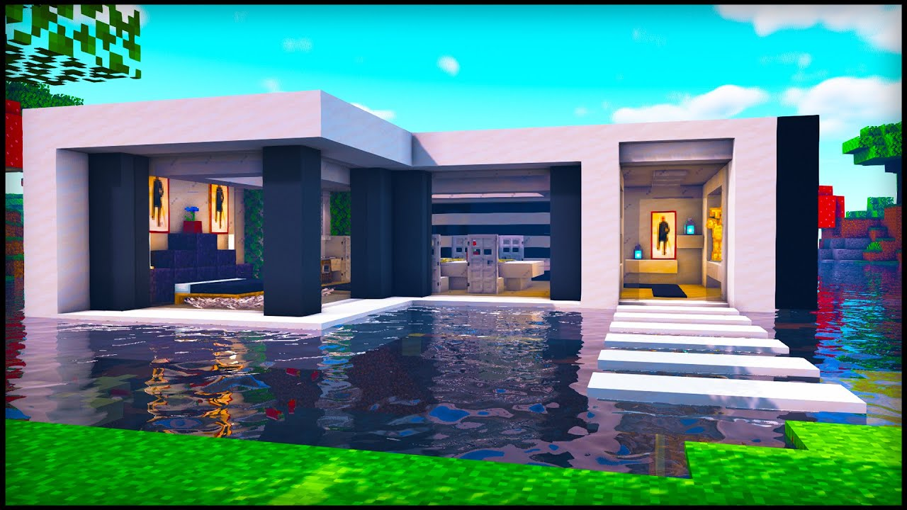 Minecraft: Water Modern House | How to build a Cool Modern ...